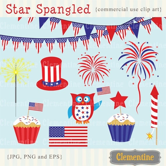 4th of July clip art, Independence Day clip art images, Royalty free clip art- Instant Download