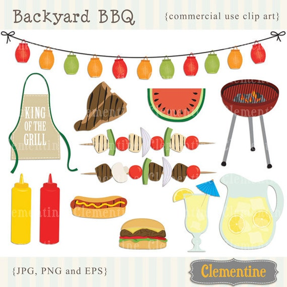 BBQ clip art images with vector EPS, picnic clip art, barbecue clip art, royalty free- Instant Download