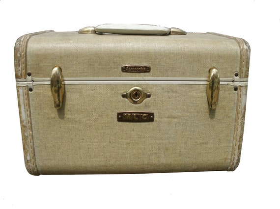 RESERVED for JAVIER Vintage Cream White Samsonite Carry On Luggage Train Case - With Initials MLC