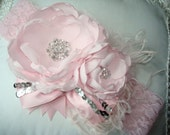 Pink Baby Girl Flower Headband, Headband, Baby Headband, Flower Girl,  Photo Prop, Couture Heandand/ Pink with Silver  Sequins