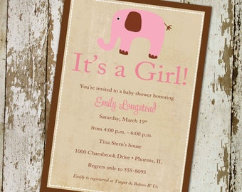 baby girl shower invitations, pink elephant, digital, printable file (item 1312b) baby shower invite