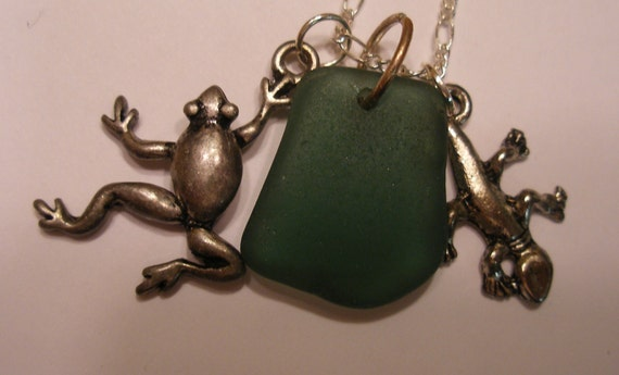 Reserved for sharonaaviva Lizard Gecko Necklace with Genuine Green Scottish Sea Glass