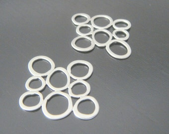 Matte Silver Multiple Circle Square Connector, Pendants, Charms, Earring Findings, 2 pc S500279