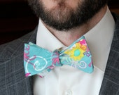 Bow Tie in Teal Floral- Custom fit self tying - freestyle bow tie