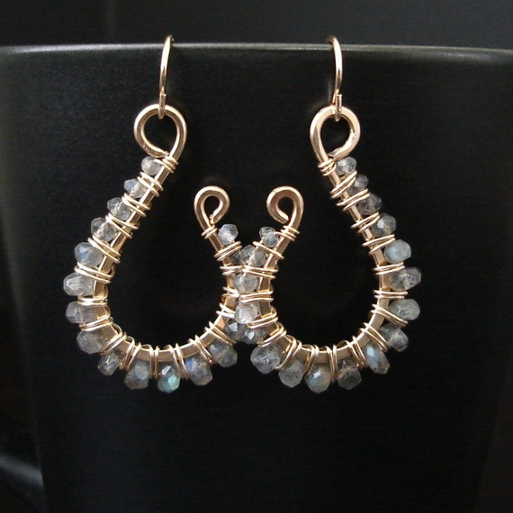 Clearance - Wire Wrapped Gemstone Earrings - Blue Fire Labradorite & 14k Gold Filled
