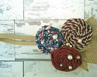 Americana, Fourth of July vintage inspired rosette patriotic headband red, navy and tan