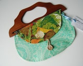 1983 Calendar Girl Vintage Towel Purse with wooden handle