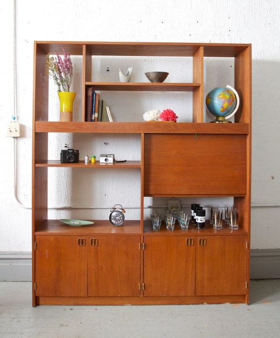 RESERVED  *** Mid Century Teak Book Case / Wall Unit / Entertainment Center - Danish Modern - Bar Cabinet
