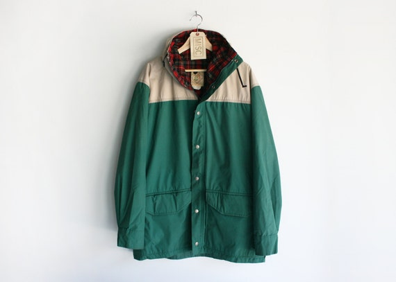 Vintage Camp Trails 60/40 Dark Green & Tan Hooded Parka w/ Plaid Wool Liner