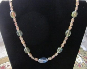 Yellow, Green and Blue Pastel Glass Silver Necklace