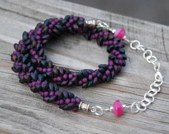 Purple Kumihimo Magatama Beaded Necklace