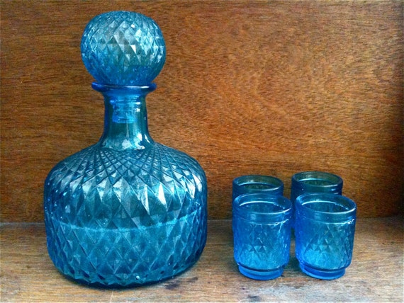 Vintage English blue glass decanter with 4 small glasses circa 1950's / English Shop