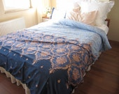 Pink Blue Navy DAMASK print FULL Queen KING duvet cover sets - Custom Bedding-romantic bedroom decor-queen bedding-king bedding-pink bedding