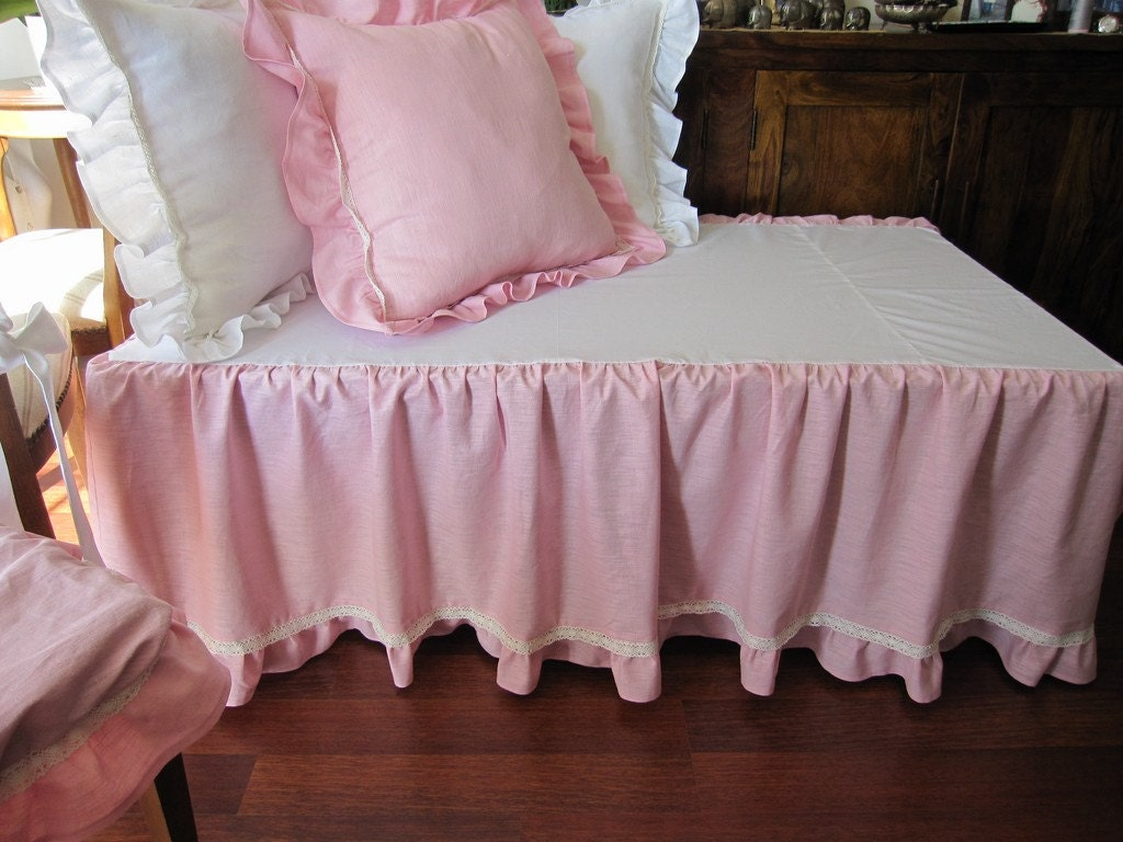 Pink Crib Bed Skirt Tiered Dust Ruffle Baby Girl Boy