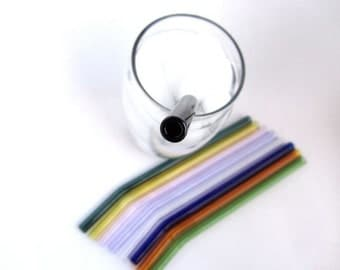 Choose Your Own Colors Glass Bent Straws- Set of Four
