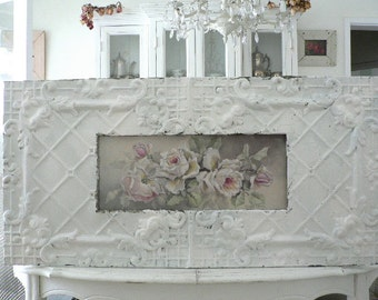 Shabby Antique Ceiling Tin Framed WHITE REPASY ROSES print