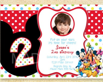 Mickey Mouse Clubhouse Birthday Invitation, Photo card, Birth Announcement, Baby Shower Invitation.