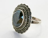 Art Deco Sterling Silver Marcasite and Hematite Ring