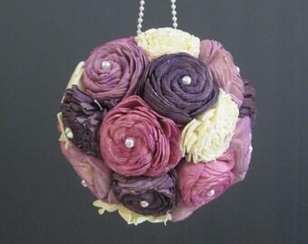 Purple sola flower kissing ball