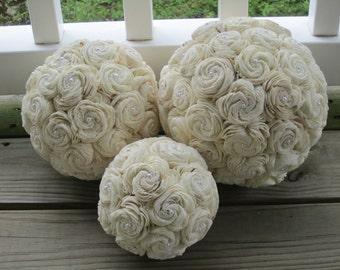 3 sola kissing balls - 3 sizes - WEDDING DECORATION