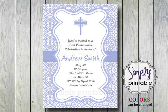 1st Communion Printable Invitation/Thank You (Digital File)