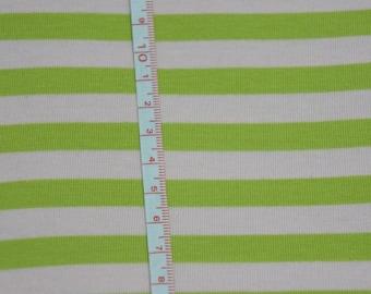 "Pale Pink & Green apx. 3/8"" Cotton Lycra Stripe Knit FAbric"