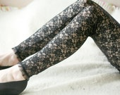 CLEARANCE SALE Black lace with daisies leggings