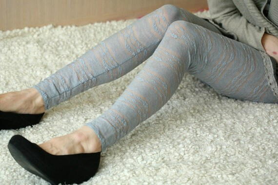 Light grey  lace leggings