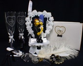 Homer & Marge Simpsons Wedding Cake Topper LOT Glasses, Knife set, Guest book, Pen, garter