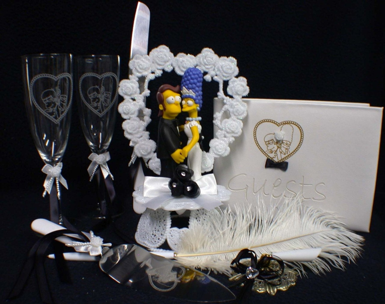 homer and marge simpson wedding cake topper homer amp marge simpsons wedding cake topper lot glasses knife 15306