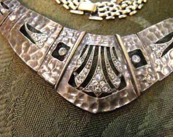 Arts and Crafts brass necklace Nouveau collar hammered brass rhinestones collar deco collar