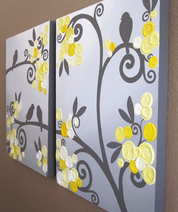 wall art yellow grey flowers and birds textured acrylic. Black Bedroom Furniture Sets. Home Design Ideas