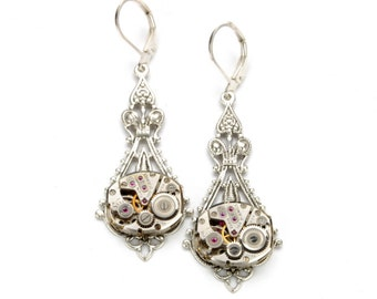 Steampunk Wedding Earrings Steampunk Jewelry Vintage Watch Earrings Silver Dangle Earrings Steam Punk Steampunk Jewelry VictorianCuriosities