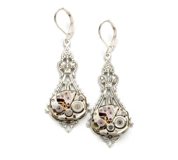 Steampunk Earrings, Steampunk Jewelry, Vintage Watch Earrings, Antique Silver Steampunk Wedding, Steam Punk Jewelry by Victorian Curiosities