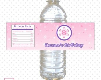 Printable Personalized With Name Winter Purple Pink Water Bottle Label Wrappers - Party Favor Snowflakes Birthday Baby Shower Girl Custom