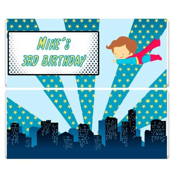 Printable Personalized Superhero Birthday Candy Bar Wrapper | Etsy