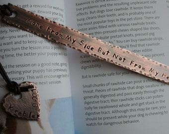 Personalized Handstamped Custom Bookmark with Quote or Special Message-Gone From My Side But Not From My Heart