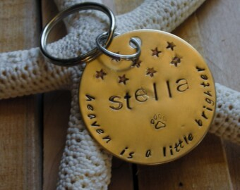 Nugold Handstamped Pet Memorial Remembrance Keychain-Heaven's Newest Star