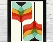 Mid Century Modern Art Falling Flowers Print // Gifts under 25 //
