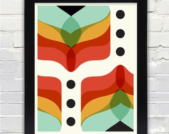 Mid Century Modern Abstract Flowers Print/ Gifts under 25/Free Shipping