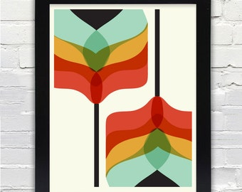 Mid Century Modern Art Falling Flowers Print // Gifts under 25 //
