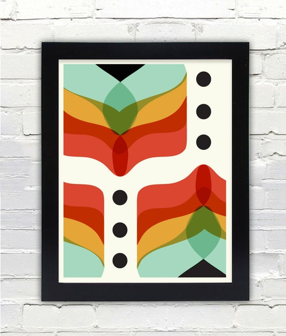 Mid century modern abstract flowers print gifts under 25 free - Mid century modern gifts ...
