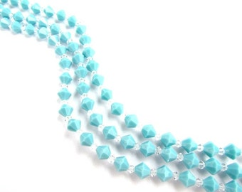 Turquoise Preciosa Crystal Bicones Beads / 132 beads