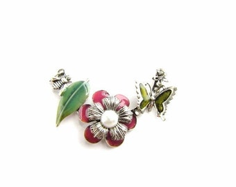 Enamel Connector Pendant / Nature Flower , Bee , Butterfly