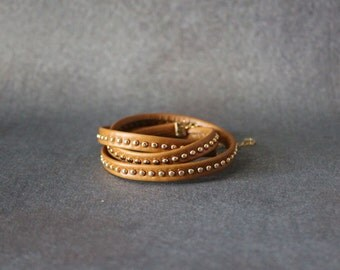 Gold Stud Soft Leather Wrap Bracelet(2 Colors)