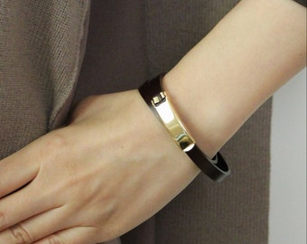 18k Gold Plated Closure Double Wrap Leather Bracelet(Dark Brown)