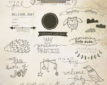 INSTANT DOWNLOAD - Baby Custom Shapes Overlays