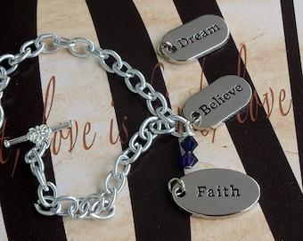 Faith - Dream - Believe - Rheumatoid Arthritis, RA, Pediatric Stroke Awareness Bracelet