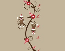 Growth Chart Wall Decal Sticker-Children Vinyl Wall Decals with Sock Monkeys