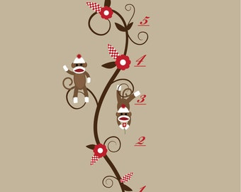 Growth Chart Wall Decal Sticker-Children Vinyl Wall Decals with Sock Monkeys-e53